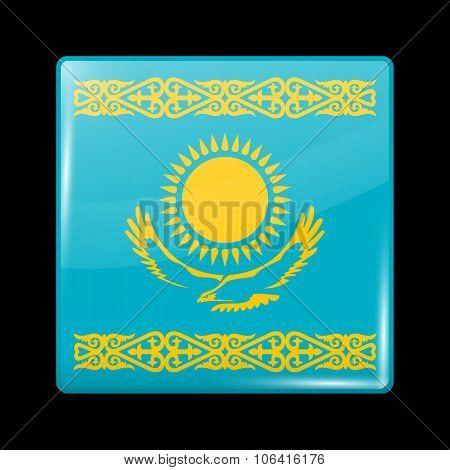 Kazakhstan Variant Flag. Glassy Icon Square Shape
