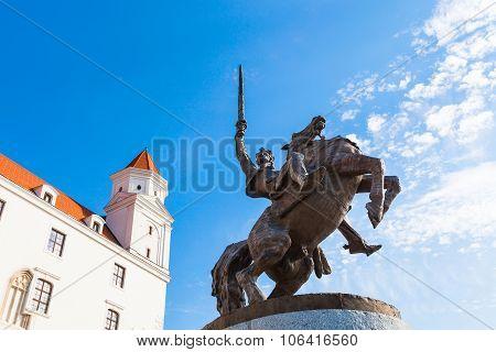 Monument Of King Svatopluk I In Bratislava Castle
