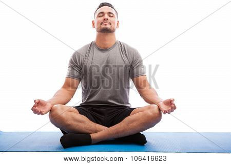 Relaxed Man Doing Some Yoga