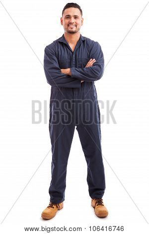 Latin Mechanic Wearing Overalls