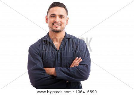 Happy Hispanic Mechanic