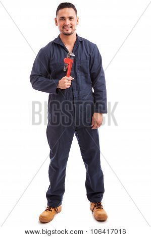 Male Plumber Enjoying Work