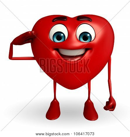Heart Shape Character With Salute Pose