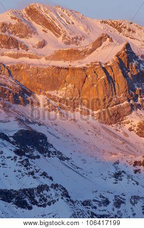 Winter in Ordesa National Park, Sum de Ramond Peak (3254 m.), Pyrenees, Huesca, Aragon, Spain.