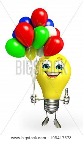 Light Bulb Character With Balloons