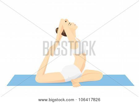 Woman doing exercise with Yoga.