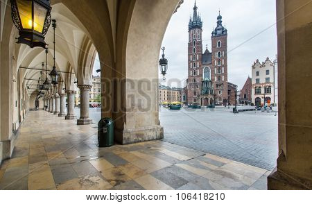 The Cloth Hall and Saint Mary Basilica in Krakow. Poland. 6 May 2015.