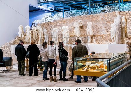 Vid, Croatia - January 27: People Visit Museum That Was Built On Site Of Ancient Roman Temple In Anc