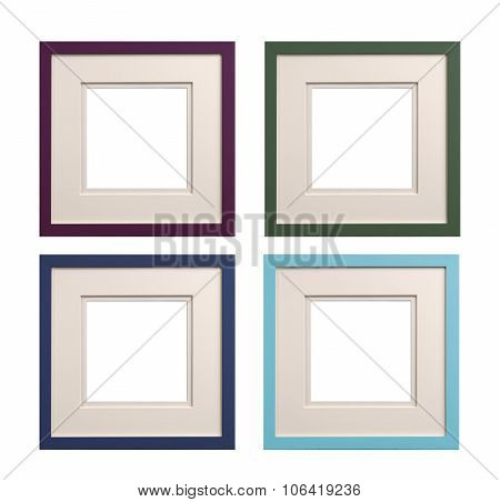 Square Picture Frames Mauve, Green, Blue, Cyan With Card Insert,
