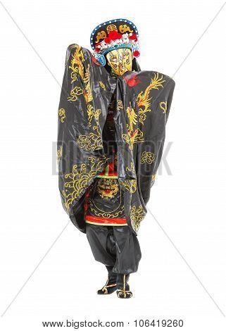 Man In Samurai Decorated Costume With Fan