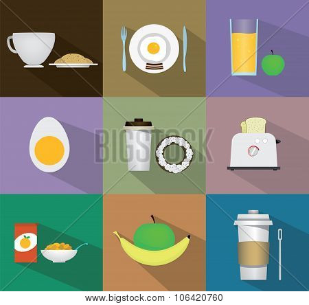 Breakfast Fresh Food And Drinks Flat Icons Set