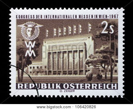 AUSTRIA - CIRCA 1967: stamp printed by Austria, shows Main Gate to Fair, Prater, Vienna, circa 1967