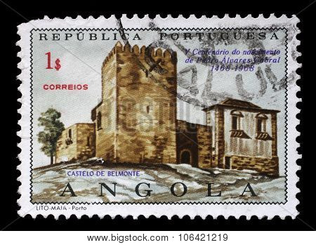 PORTUGUESE ANGOLA - CIRCA 1970: a stamp printed in the Portuguese Angola shows Belmonte Castle, Pedro Alvares Cabral, circa 1970