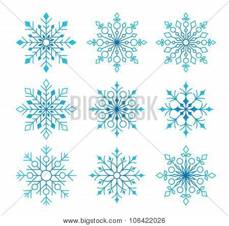 Beautiful Collection of Snow Flakes Isolated in White
