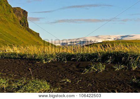 Black beach near Vik with Vatnajokull glacier in background