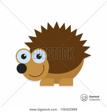 Cute smiling hedgehog icon