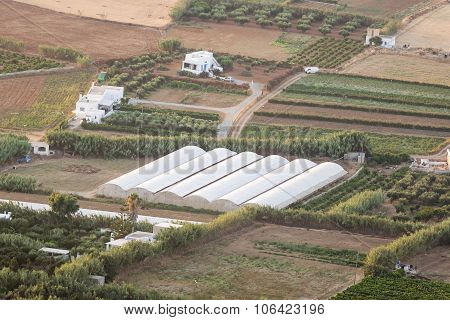Greenhouse in Paros island in Greece. View from the top.