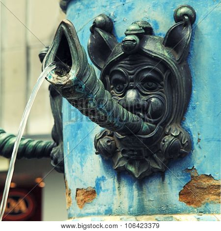 Close-up Detail Of Medieval Fountain , Lucerne, Switzerland.