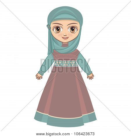 The doll in Muslim dress.