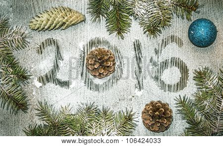Background For Holiday  Greeting Card. Caption Twenty Sixteen Made For New Year And Christmas