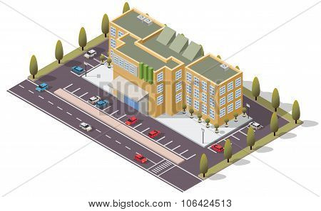 Vector Isometric Bank Government Building