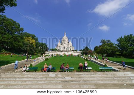 PARIS, FRANCE - AUGUST 10, 2015: view of Sacre-Cceur. The Basilica of the Sacred Heart of Paris, is a Roman Catholic church and minor basilica, dedicated to the Sacred Heart of Jesus, in Paris, France