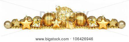 Golden Christmas ornament border over white