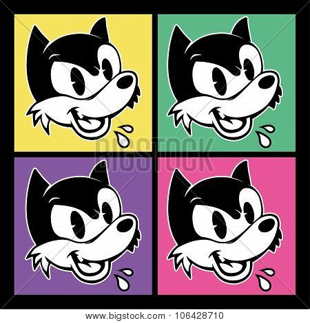 vintage toons. four images of retro cartoon character angry sarcastic shout woolf on the colorful ba