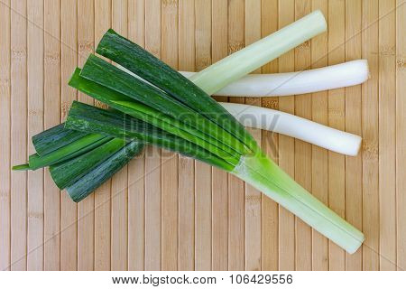 Huge stalks of fresh Japanese Leeks (Negi) on white background