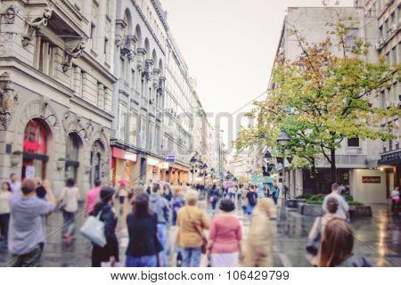 Morning Commuters In Belgrade Serbia