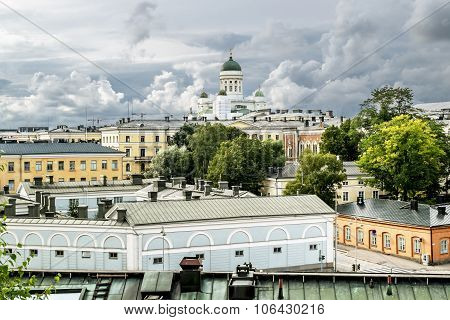 View Over The Rooftops And The Cathedral In Helsinki Senate Square