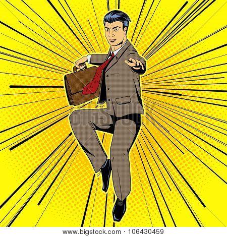 Businessman flying movie style pop art vector