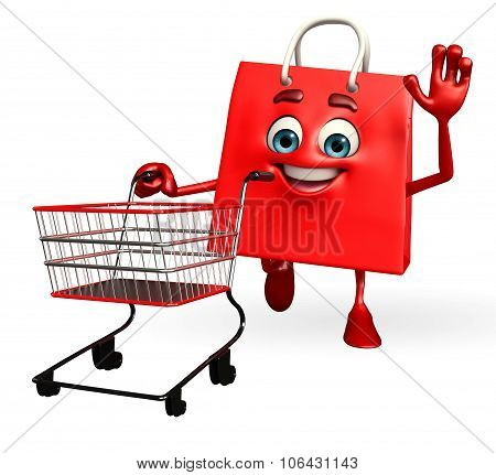 Shopping Bag Character With Trolley