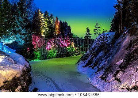Polar Lights Over Marble Quarry Ruskeala In Karelia In Winter.