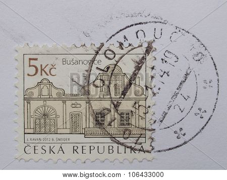Busanovice Village On A Czech Stamp