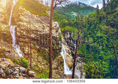 Beautiful landscape with mountain river waterfalls and rocks in Nepal,  Annapurna trekking