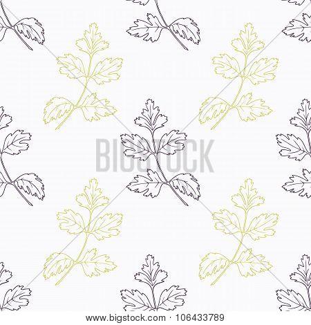 Hand drawn parsley branch stylized black and green seamless pattern