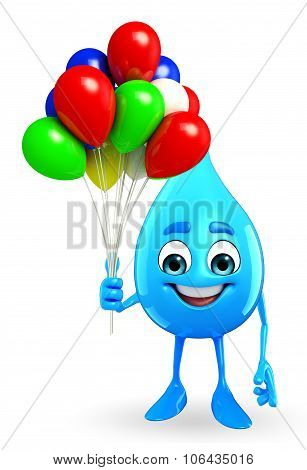 Water Drop Character With Balloon
