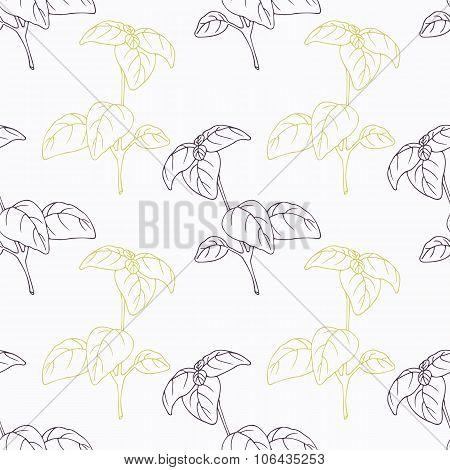 Hand drawn basil branch stylized black and green seamless pattern