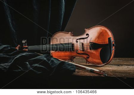 Violin On An Old Table Still Life