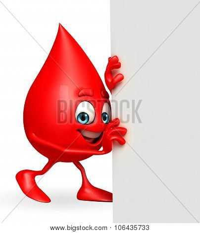 Blood Drop Character With Sign