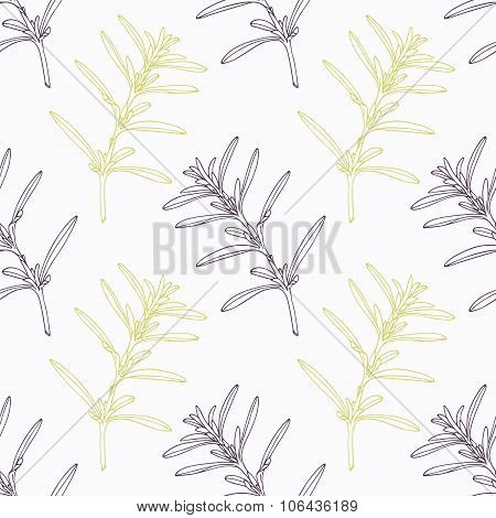 Hand drawn savory branch stylized black and green seamless pattern
