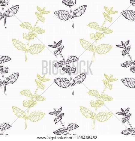 Hand drawn mint branch stylized black and green seamless pattern