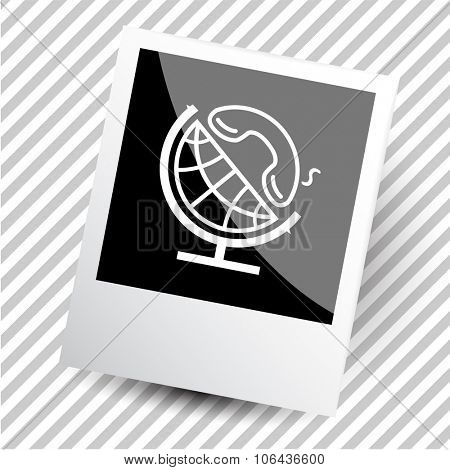 globe and handset. Photo frame. Vector icon.