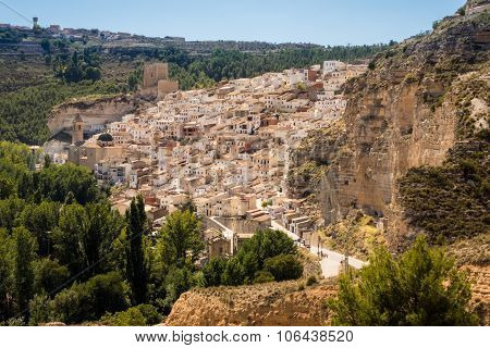 Overview Of Alcala Del Jucar In Castilla-la Mancha, Spain
