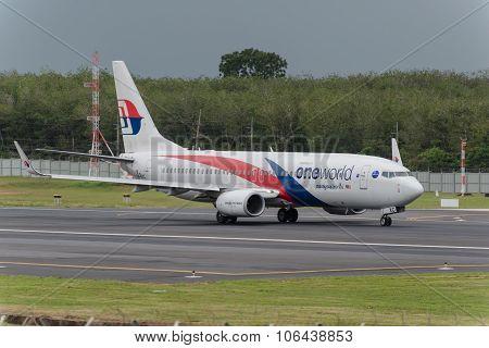 Malaysian Airline Take Off At Phuket Airport