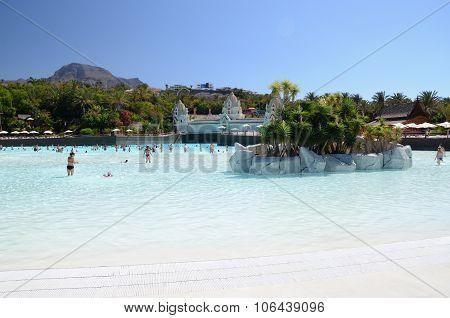 Artificial Siam beach in Siam Park in Costa Adeje on Tenerife