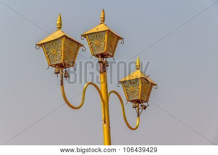 Lamp in temple at the top of Sagaing hill