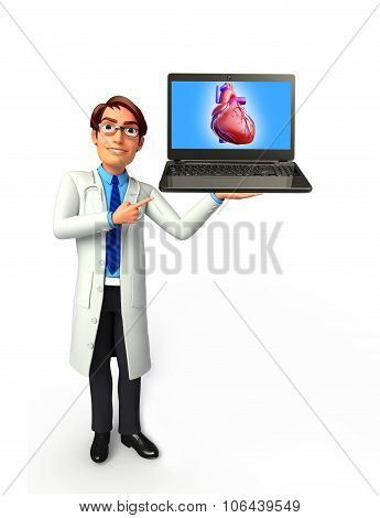Young Doctor With Heart Anatomy
