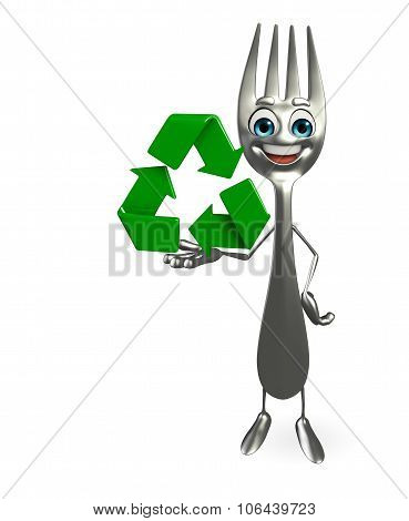 Fork Character With Recycle Icon